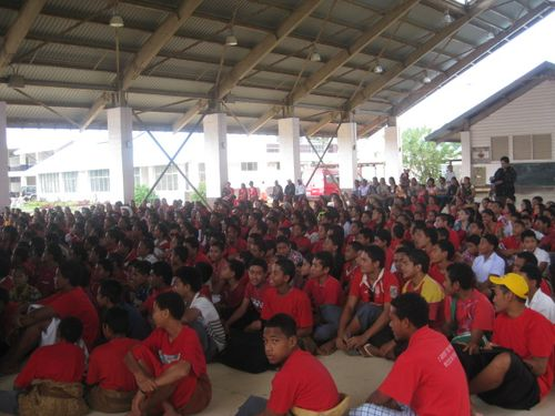 Cheering on Tonga at the Local High School
